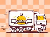 pic of food truck  - illustration of truck free and fast delivering burger with crown to customer on pattern background - JPG