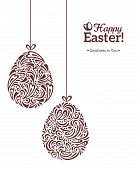 picture of greeting card design  - Easter eggs in doodle minimalism style with place for your text - JPG