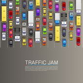 stock photo of  jeep  - raffic jam on the road - JPG