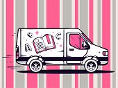 pic of moving van  - illustration of van free and fast delivering open book to customer on pattern background - JPG