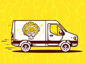 picture of moving van  - illustration of van free and fast delivering bouquet of flowers to customer on yellow background - JPG