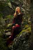 image of fairy  - A beautiful woman fairy with long blonde hair in a historical gown is sitting amids moos covered rocks in enchanting forestral landscape - JPG