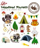 picture of wild-rabbit  - a Woodland Animal Camping Vector Set with camping stamp - JPG