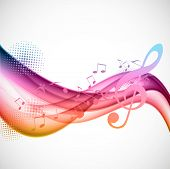 picture of clefs  - Colorful wavy music background with notes and g - JPG