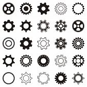 stock photo of gear wheels  - Different black gear wheel icons on white background - JPG