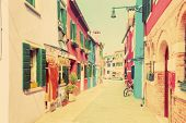 stock photo of pastel colors  - Colorful houses on Burano island - JPG