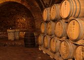 stock photo of wine cellar  - Barrels in a wine - JPG