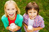 foto of moustache  - Top view of two cute little children with milk moustaches holding glasses with milk and smiling while standing on green grass together - JPG