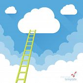 picture of reach the stars  - Ladder to the sky. Vector minimalist design competition concept.  - JPG