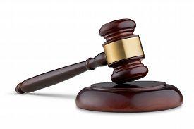 foto of jury  - Close Up Of Judge Gavel Isolated On White Background - JPG