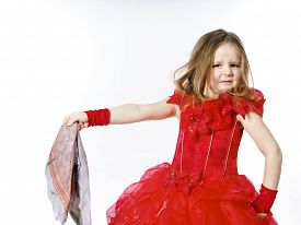 pic of cinderella  - Young cinderella dressed in red preparing to mop the floor by dirty cloth - JPG