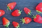 picture of strawberry  - fresh strawberry on a table red strawberry on the wooden table - JPG