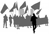 picture of anarchists  - People of with large flags on white background - JPG
