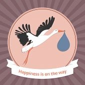 picture of stork  - Vector illustration of a stork carrying a newborn baby for your design - JPG