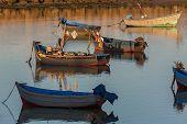 stock photo of asilah  - Fishing boats at sunset in Asilah - JPG