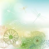image of dragonflies  - Flower Background Sketch With Dragonfly - JPG