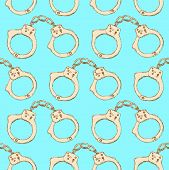 image of handcuff  - Sketch steel handcuffs in vintage style vector seamless pattern - JPG