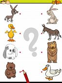 picture of brain-teaser  - Cartoon Illustration of Education Element Matching Game for Preschool Children with Baby Animals and their Mothers - JPG