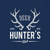 foto of antlers  - Deer Hunters Club Abstract Vintage Label or Logo Template with Antlers - JPG