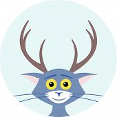 image of antlers  - Cat with deer antlers on his head - JPG
