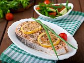 foto of salmon steak  - Baked salmon steak with lemon and herbs - JPG