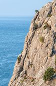 picture of crimea  - Sea landscape with rocks in region Crimea on Black sea - JPG