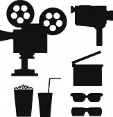 stock photo of popcorn  - Set of  movie silhouettes including old video camera - JPG