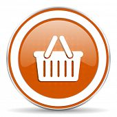 stock photo of cart  - cart orange icon shopping cart symbol  - JPG