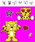 picture of cute tiger  - cute tiger funny expressions cartoon set in vector format very easy to edit - JPG