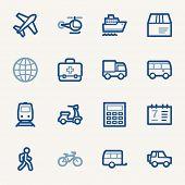 stock photo of transportation icons  - Transport web icons set - JPG