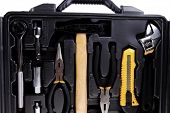 image of pliers  - toolbox set of tools include hammer wrench bit driver pliers hex key bush level hex key - JPG