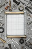 picture of hardware  - hardware tools at metal background texture - JPG
