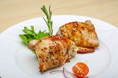stock photo of thighs  - Roasted chicken thighs with herbs and spices - JPG