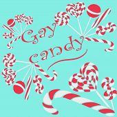 pic of lollipops  - a variety of striped lollipops and candy cheerful inscription - JPG