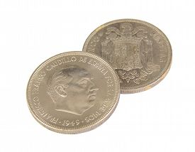 pic of spanish money  - Two old Spanish coins of 5 pesetas showing Franco face isolated on white background - JPG