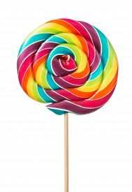image of lollipops  - Close up of colorful handmade swirl lollipop isolated on white background - JPG