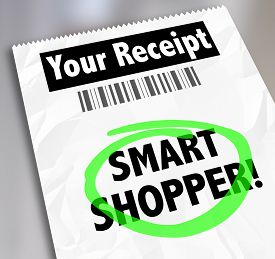 picture of wise  - Smart Shopper words on a store receipt circled to illustrate spending money wisely - JPG