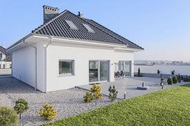 image of enormous  - Enormous white modern house with big green garden - JPG