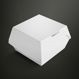 picture of packages  - white food box packaging for hamburger isolated on black background - JPG