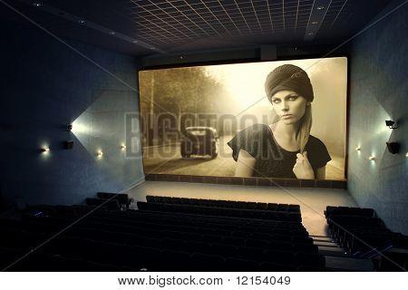 Постер, плакат: Винтажные кино на экране кинотеатра, холст на подрамнике