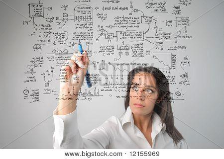 Постер, плакат: женщина рисование бизнес системы, холст на подрамнике