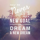 Inspirational Typographic Quote - Youre never too old to set a new goal or dream a new dream poster