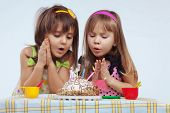 pic of birthday party  - Little girls eating birthday cake - JPG