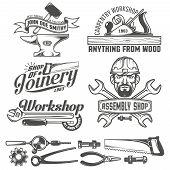 Постер, плакат: Logo with working tools