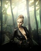 stock photo of underworld  - portrait of beautiful woman model against underworld background - JPG
