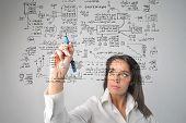 Постер, плакат: женщина рисование бизнес системы
