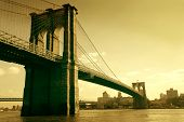 stock photo of brooklyn bridge  - brooklyn bridge in sepia colour - JPG