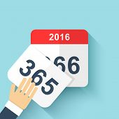 Calendar style flat leap year 366 days. Calendars Design 2016 poster