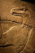 stock photo of ptolemaic  - egyptian flacon carving on solid rock - god horus