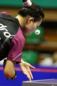 KUALA LUMPUR, MALAYSIA - SEPTEMBER 24: Wu Jiaduo, Germany (ITTF World Rank 11) tosses the ball to se